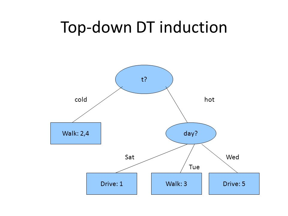 Top-down DT induction t cold hot Walk: 2,4 day Sat Wed Tue Drive: 1