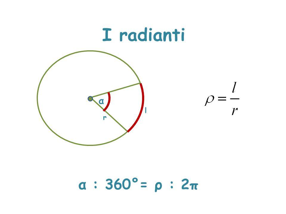 I radianti α l r α : 360°= ρ : 2π