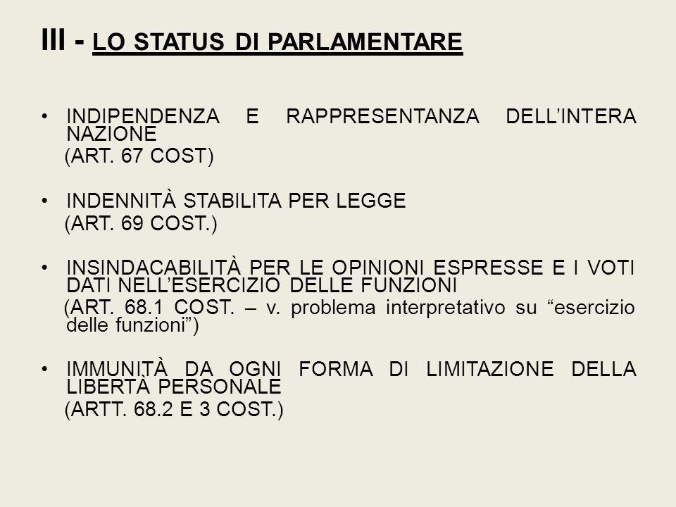 III - lo status di parlamentare