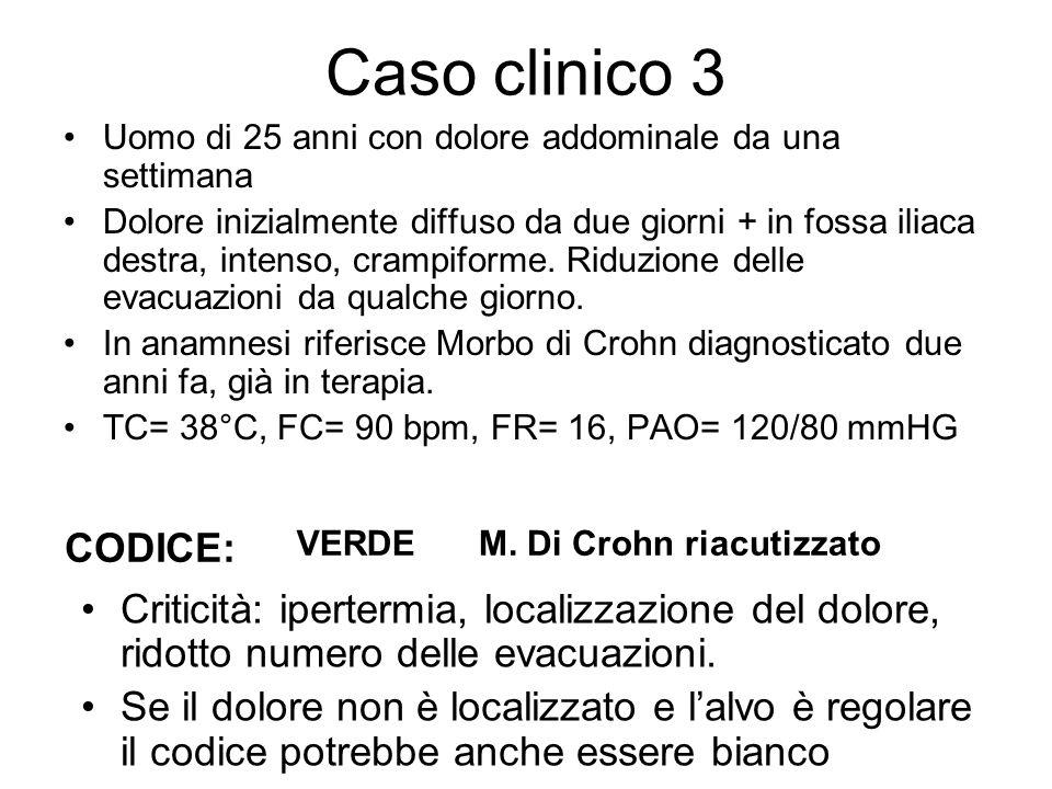 Caso clinico 3 Uomo di 25 anni con dolore addominale da una settimana.