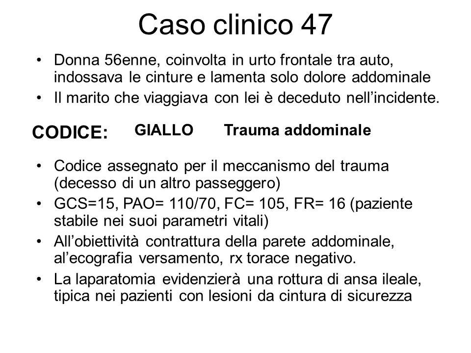 Caso clinico 47 Donna 56enne, coinvolta in urto frontale tra auto, indossava le cinture e lamenta solo dolore addominale.