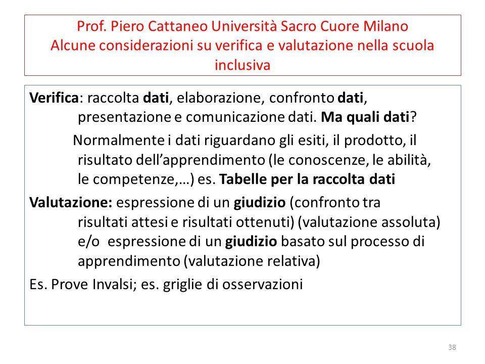 Prof. Piero Cattaneo Università Sacro Cuore Milano Alcune considerazioni su verifica e valutazione nella scuola inclusiva