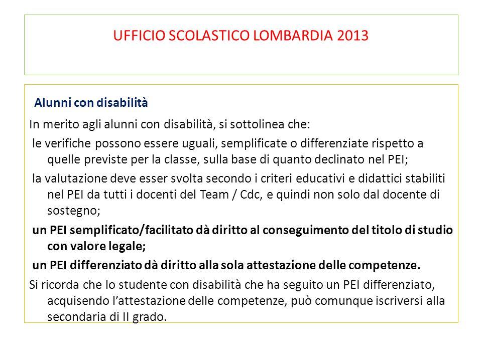 UFFICIO SCOLASTICO LOMBARDIA 2013