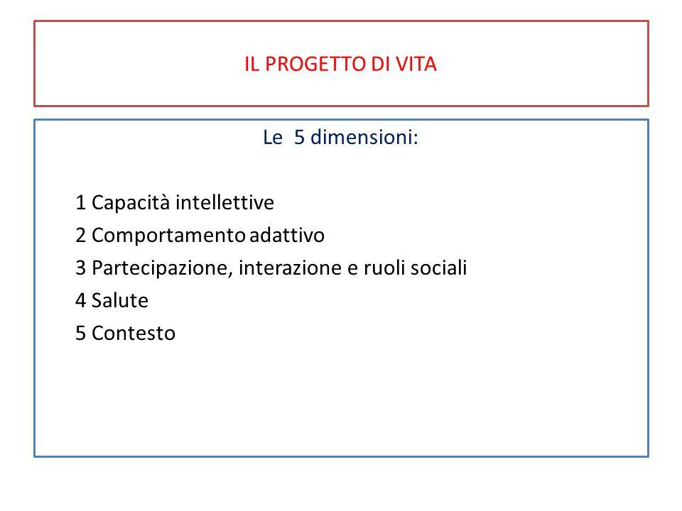 IL PROGETTO DI VITA Le 5 dimensioni: 1 Capacità intellettive. 2 Comportamento adattivo. 3 Partecipazione, interazione e ruoli sociali.