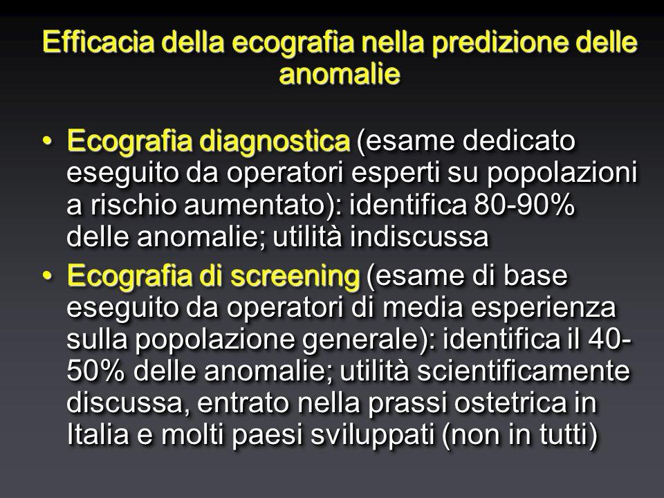 Efficacia della ecografia nella predizione delle anomalie