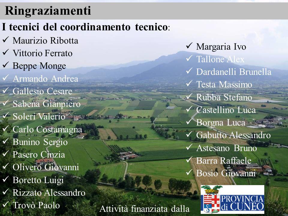 Ringraziamenti I tecnici del coordinamento tecnico: Maurizio Ribotta