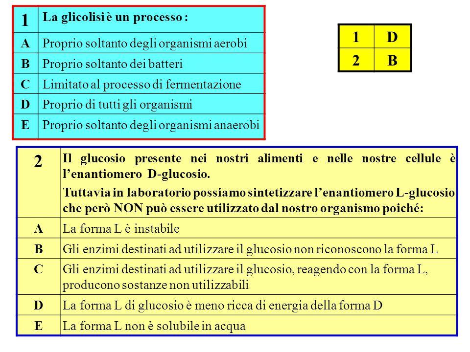 1 2 1 D 2 B La glicolisi è un processo : A