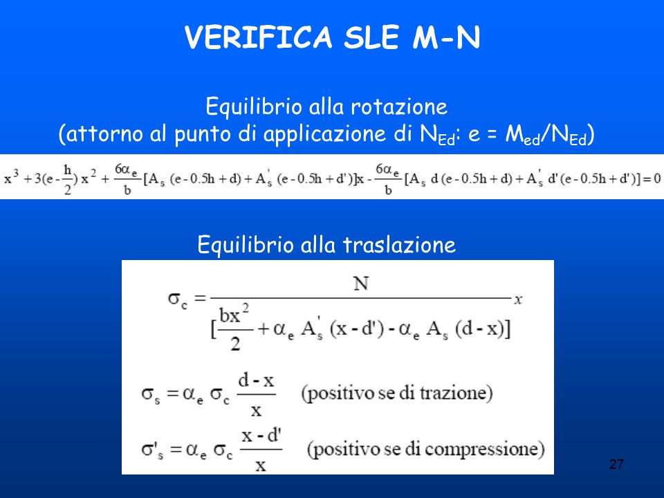 VERIFICA SLE M-N Equilibrio alla rotazione