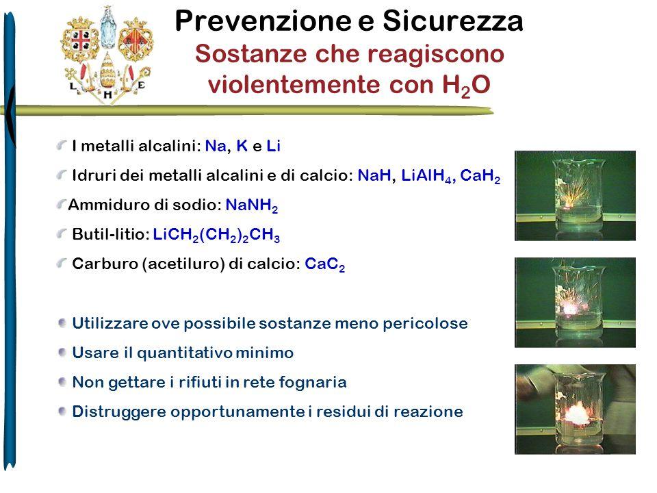 Prevenzione e Sicurezza Sostanze che reagiscono violentemente con H2O
