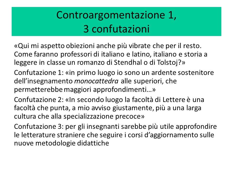 Controargomentazione 1, 3 confutazioni