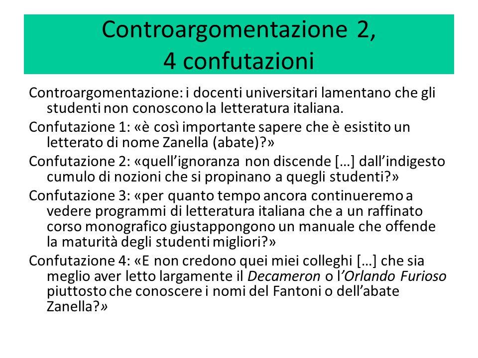 Controargomentazione 2, 4 confutazioni