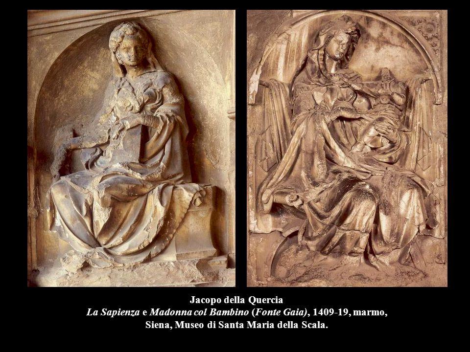 Jacopo della Quercia La Sapienza e Madonna col Bambino (Fonte Gaia), 1409-19, marmo, Siena, Museo di Santa Maria della Scala.