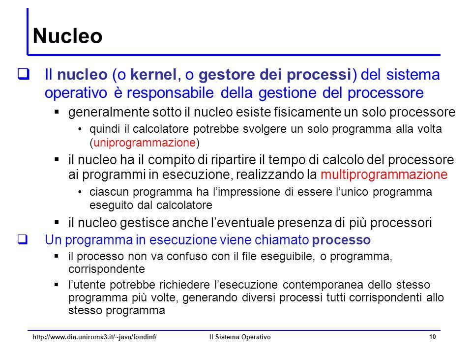 Nucleo Il nucleo (o kernel, o gestore dei processi) del sistema operativo è responsabile della gestione del processore.