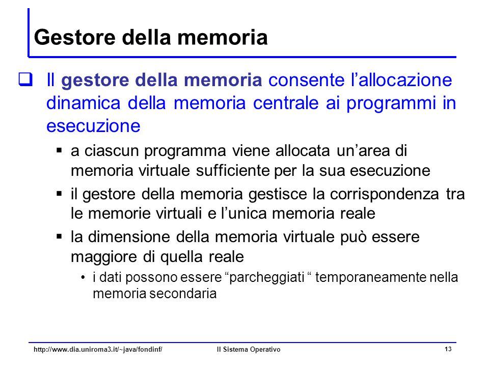 Gestore della memoria Il gestore della memoria consente l'allocazione dinamica della memoria centrale ai programmi in esecuzione.
