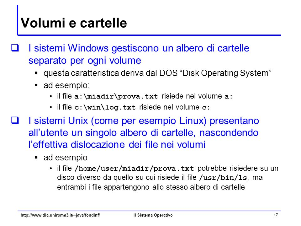 Volumi e cartelle I sistemi Windows gestiscono un albero di cartelle separato per ogni volume.