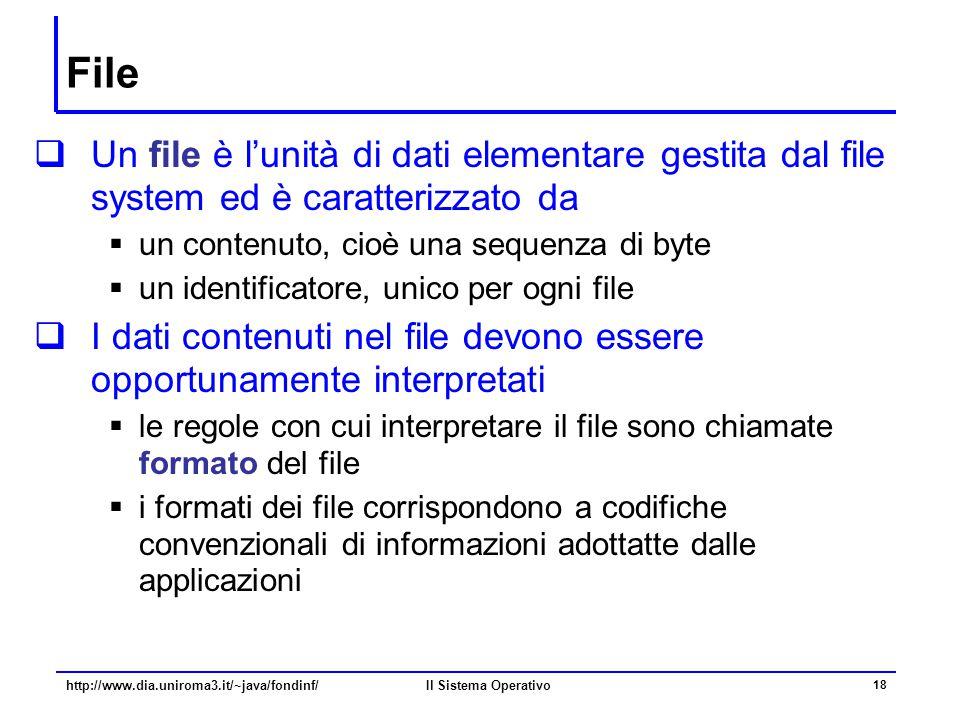 File Un file è l'unità di dati elementare gestita dal file system ed è caratterizzato da. un contenuto, cioè una sequenza di byte.