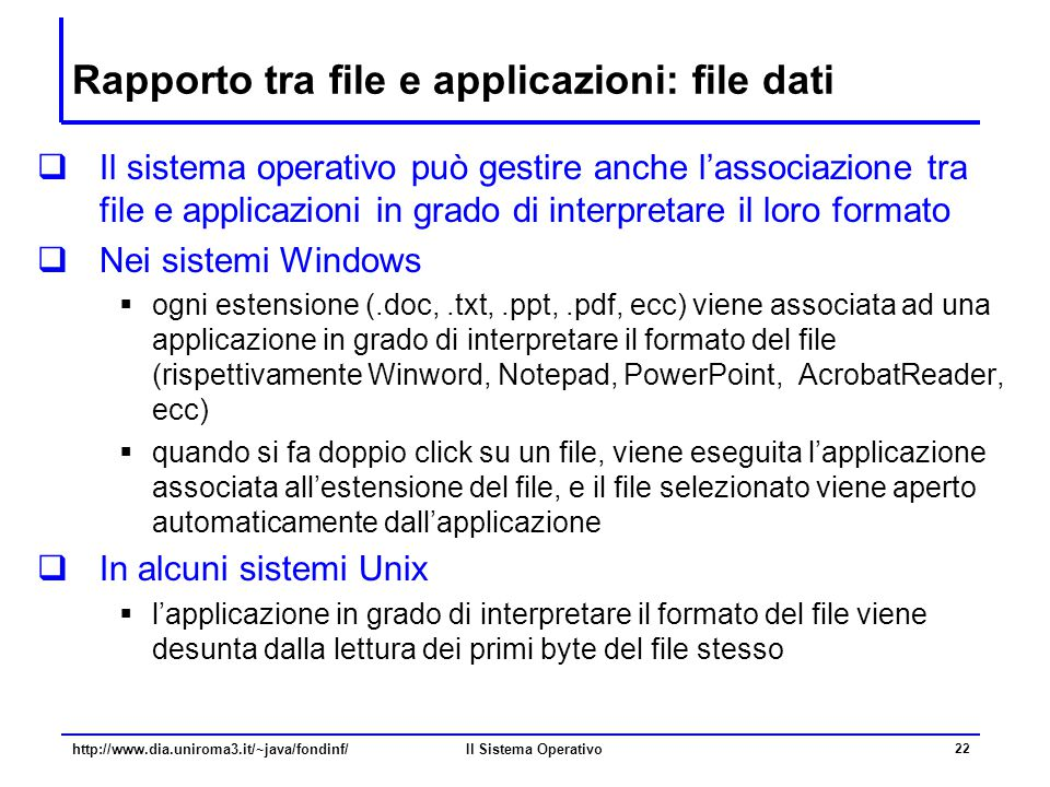 Rapporto tra file e applicazioni: file dati