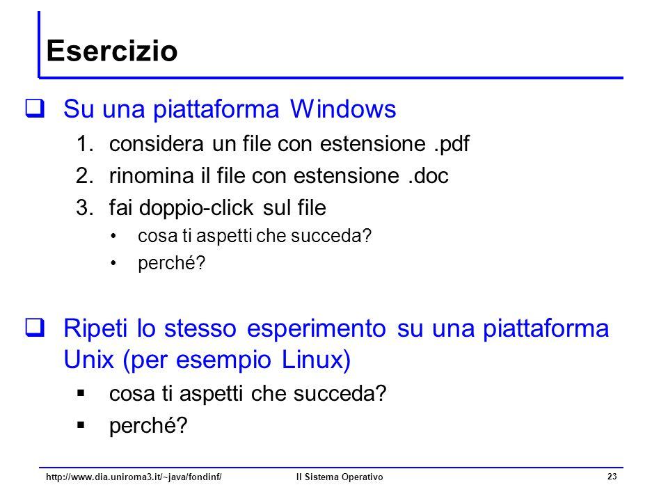 Esercizio Su una piattaforma Windows