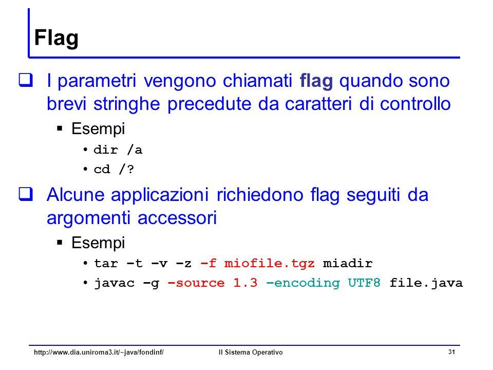 Flag I parametri vengono chiamati flag quando sono brevi stringhe precedute da caratteri di controllo.