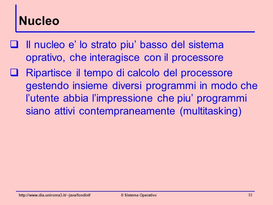 Nucleo Il nucleo e' lo strato piu' basso del sistema oprativo, che interagisce con il processore.
