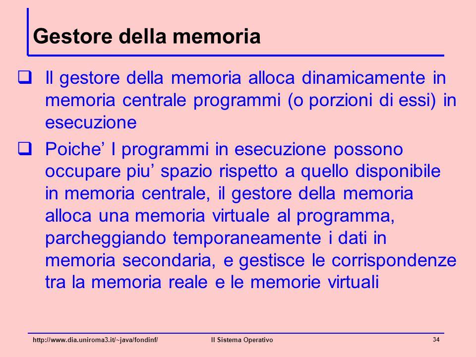 Gestore della memoria Il gestore della memoria alloca dinamicamente in memoria centrale programmi (o porzioni di essi) in esecuzione.