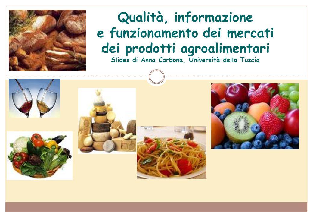 Qualità, informazione e funzionamento dei mercati dei prodotti agroalimentari Slides di Anna Carbone, Università della Tuscia