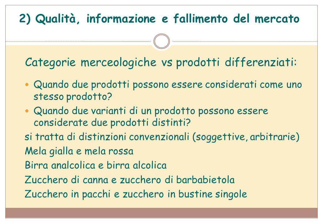 Categorie merceologiche vs prodotti differenziati:
