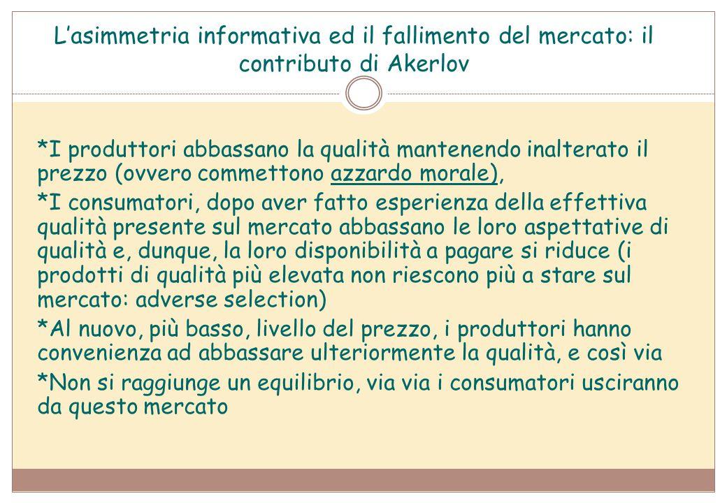 L'asimmetria informativa ed il fallimento del mercato: il contributo di Akerlov