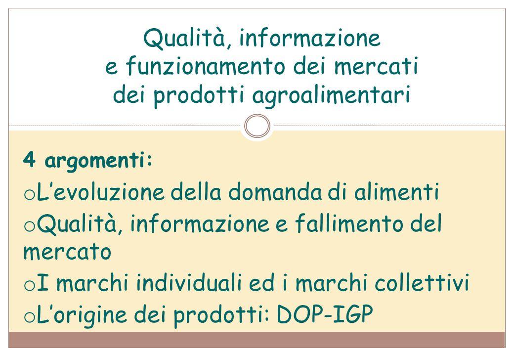 Qualità, informazione e funzionamento dei mercati dei prodotti agroalimentari