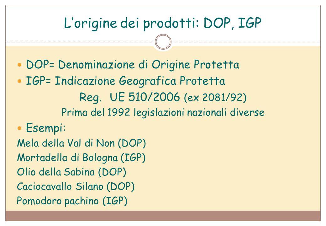 L'origine dei prodotti: DOP, IGP