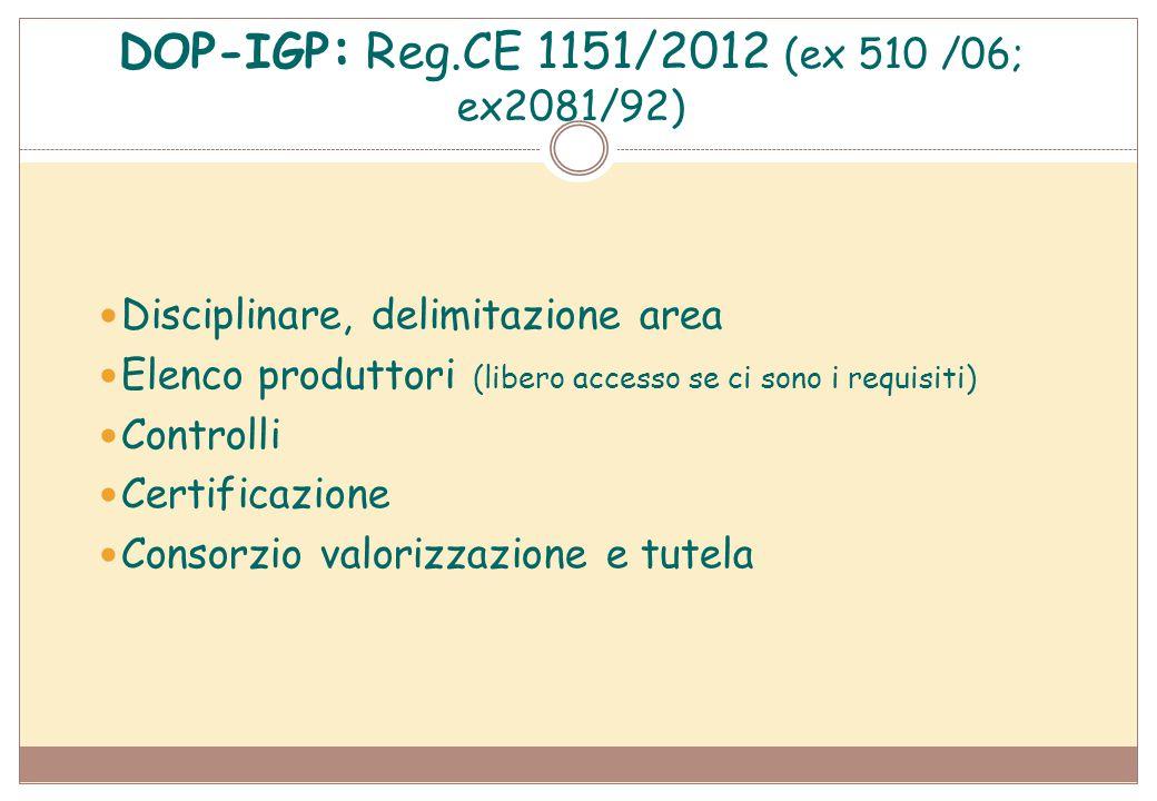 DOP-IGP: Reg.CE 1151/2012 (ex 510 /06; ex2081/92)