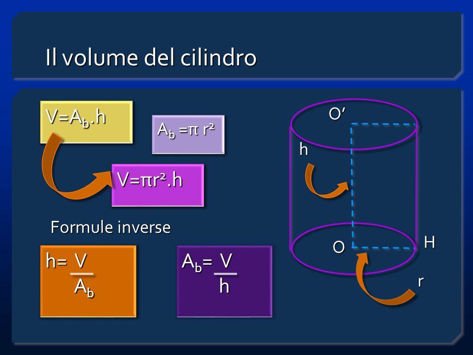 Il volume del cilindro V=Ab.h V=πr2.h h= V Ab Ab= V h O' Ab =π r2 h