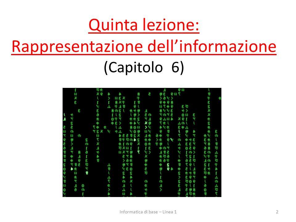 Quinta lezione: Rappresentazione dell'informazione (Capitolo 6)
