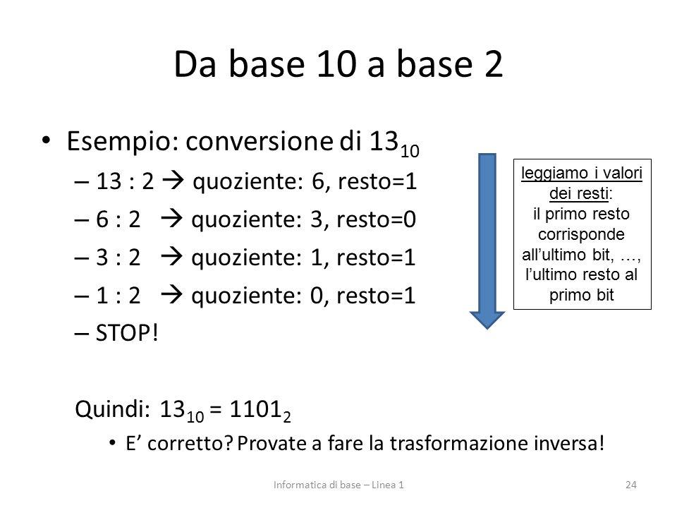 Informatica di base – Linea 1