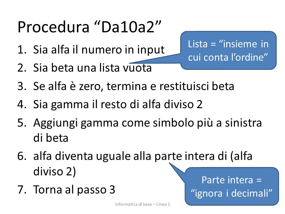 Procedura Da10a2 Sia alfa il numero in input