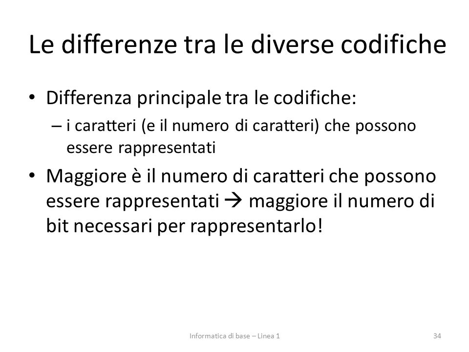 Le differenze tra le diverse codifiche
