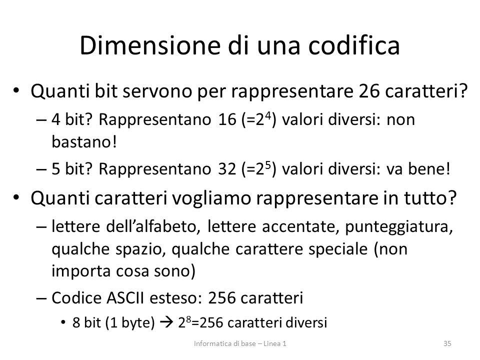 Dimensione di una codifica