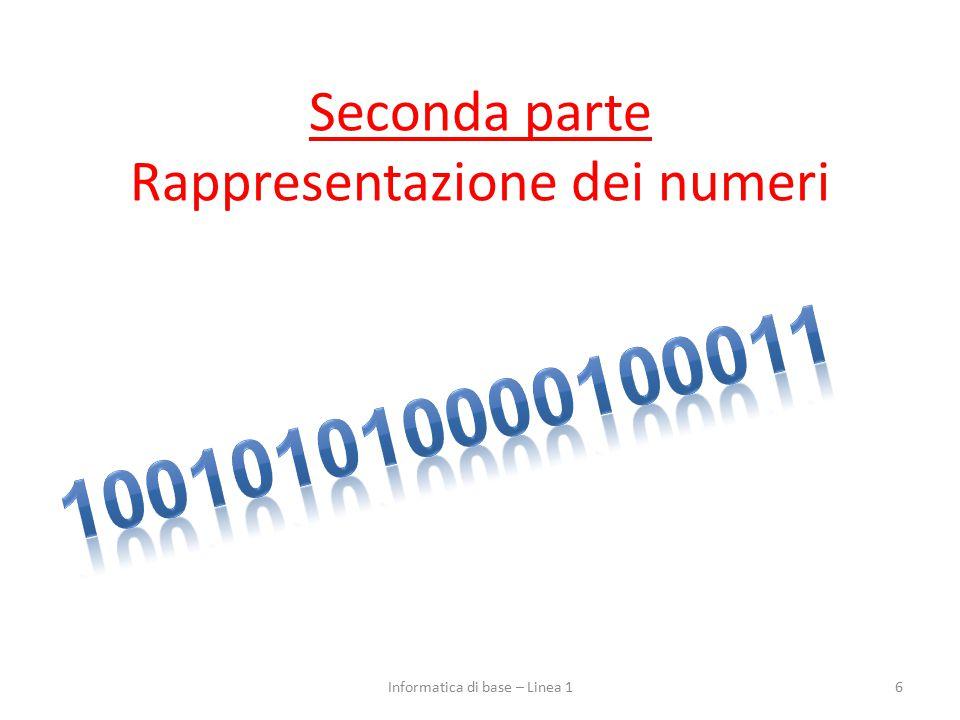 Seconda parte Rappresentazione dei numeri
