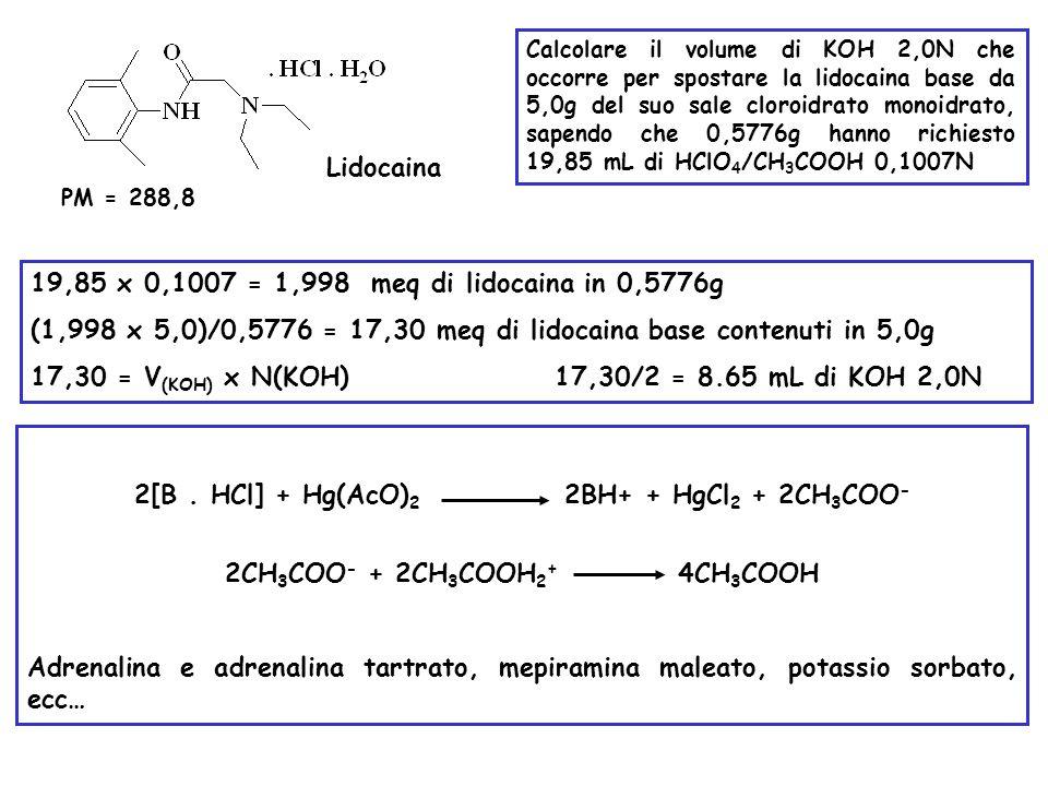 (1,998 x 5,0)/0,5776 = 17,30 meq di lidocaina base contenuti in 5,0g