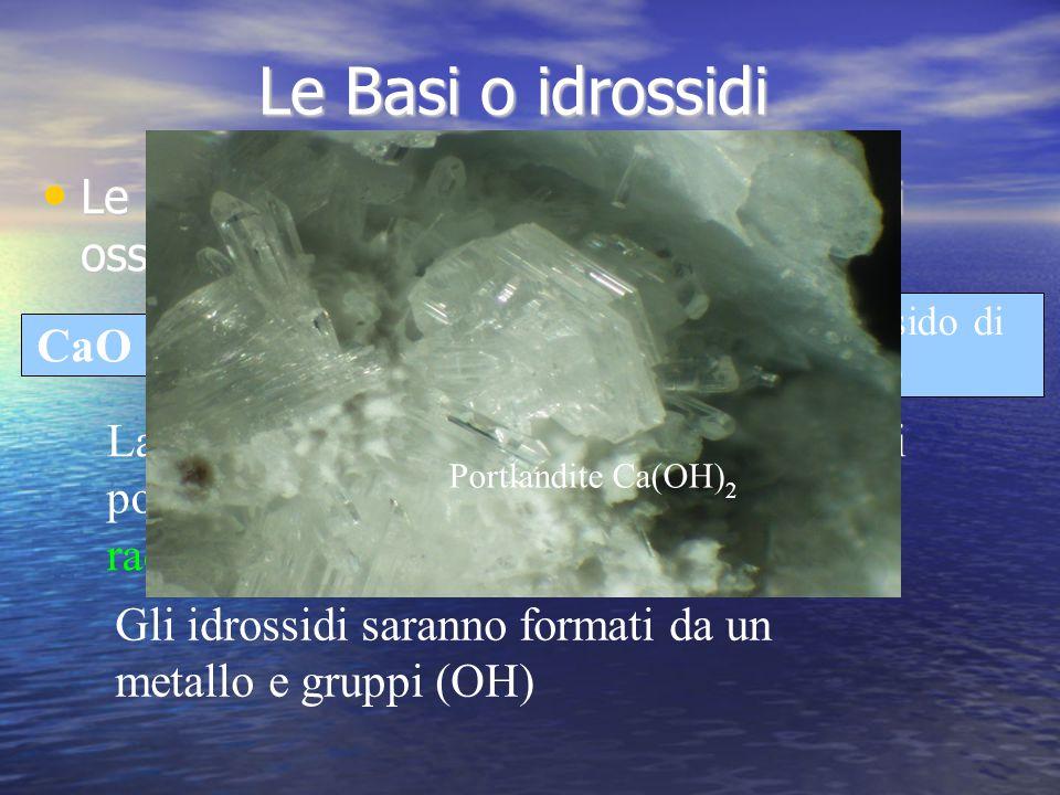 Le Basi o idrossidi Le basi si ottengono facendo reagire gli ossidi con l acqua. Idrossido di. calcio.