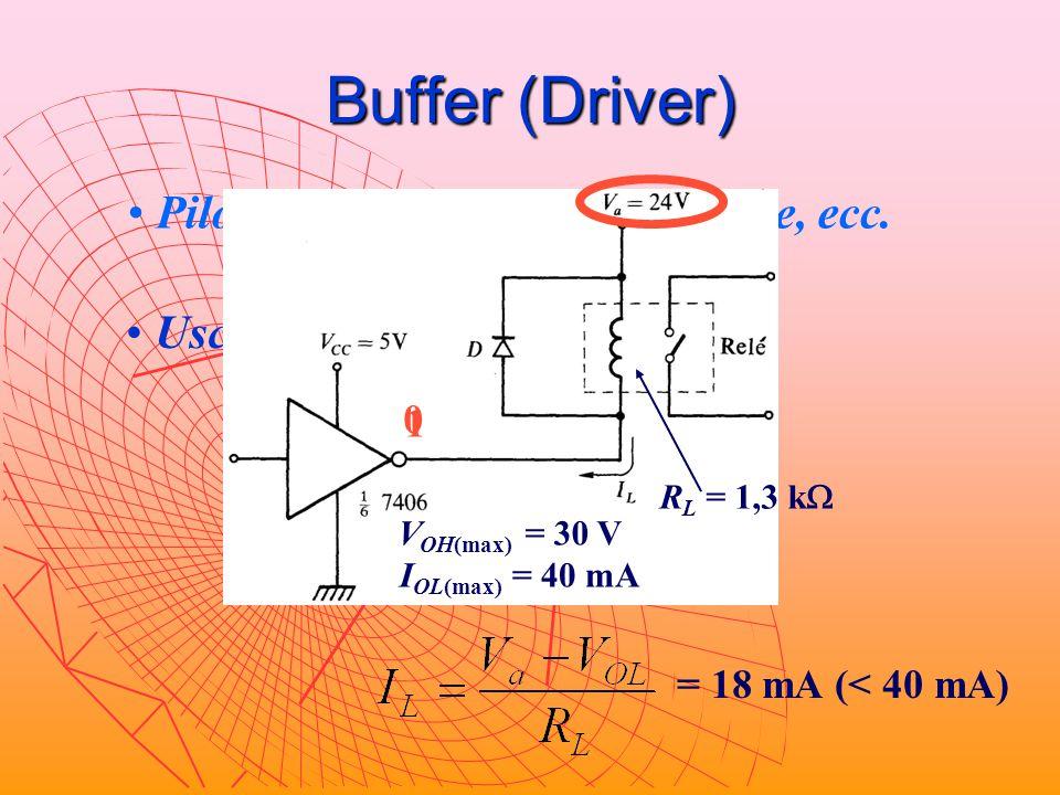 Buffer (Driver) Pilotaggio di lampade, relè, linee, ecc.