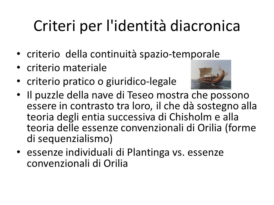 Criteri per l identità diacronica