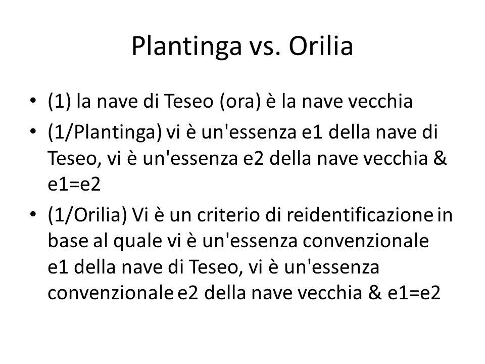 Plantinga vs. Orilia (1) la nave di Teseo (ora) è la nave vecchia