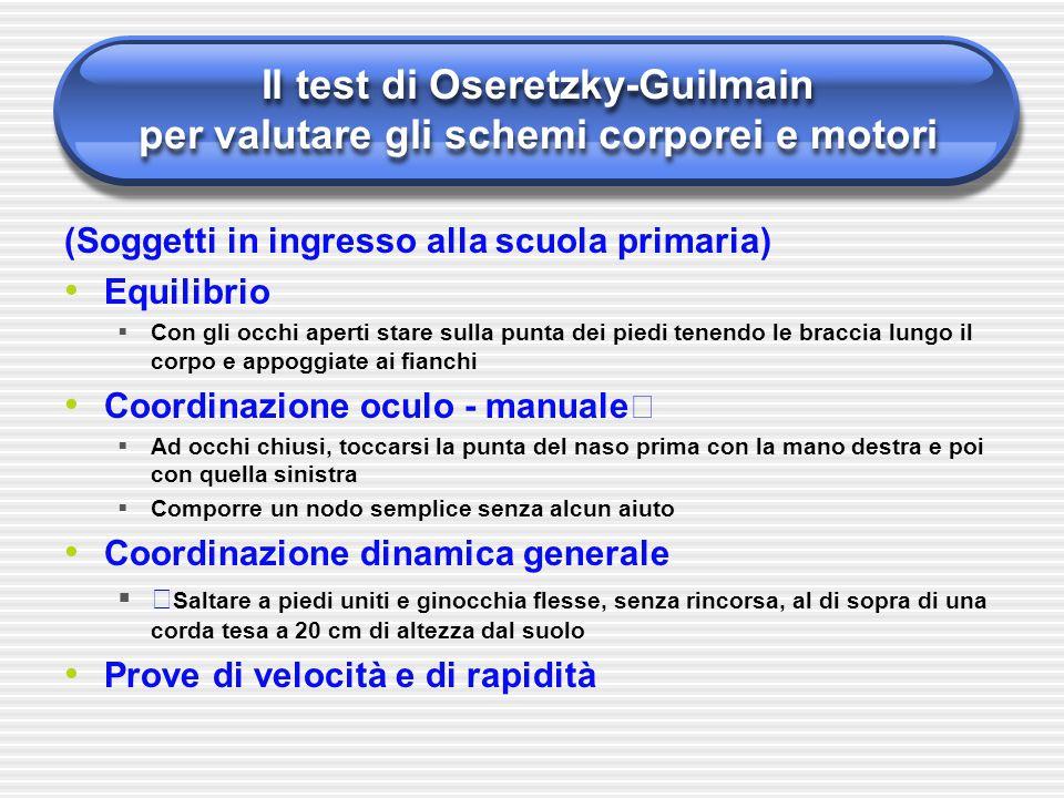 Il test di Oseretzky-Guilmain per valutare gli schemi corporei e motori