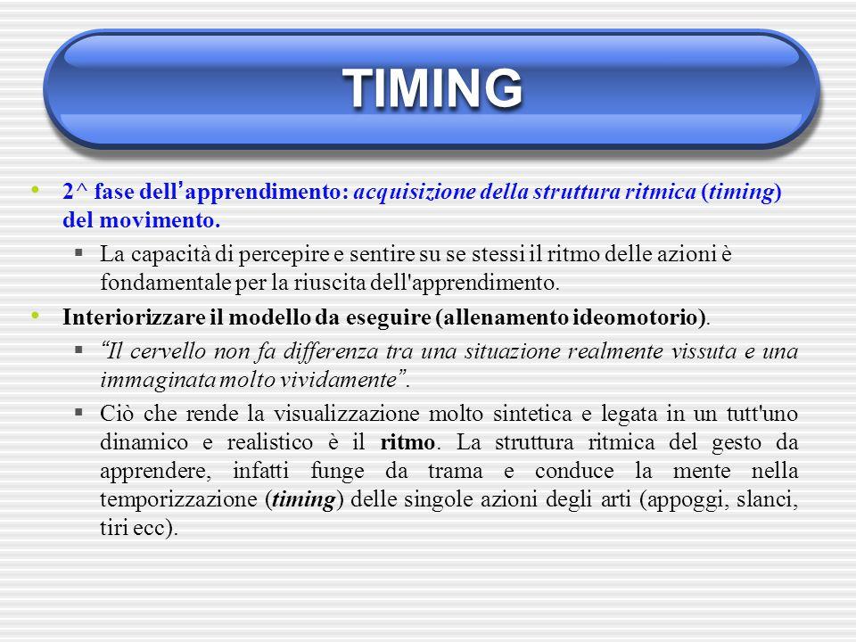 TIMING 2^ fase dell'apprendimento: acquisizione della struttura ritmica (timing) del movimento.