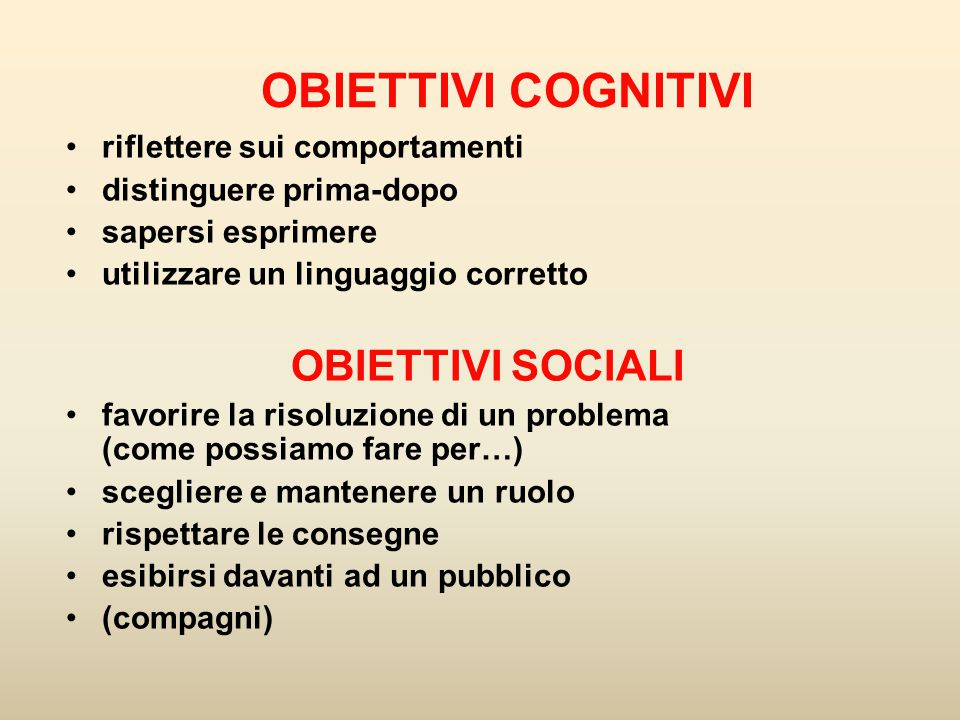 OBIETTIVI COGNITIVI OBIETTIVI SOCIALI riflettere sui comportamenti