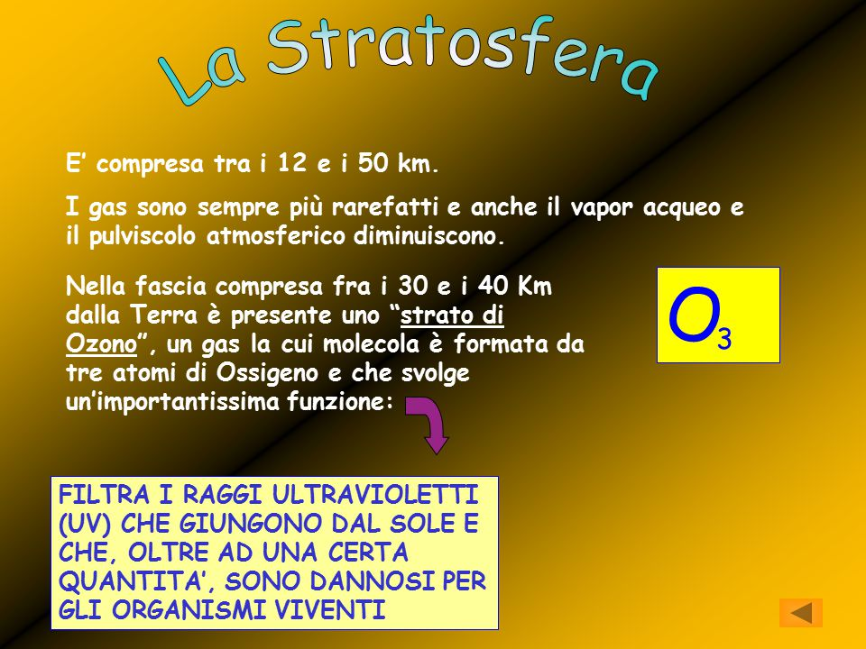O La Stratosfera 3 E' compresa tra i 12 e i 50 km.