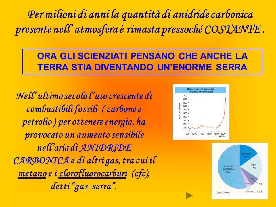 Per milioni di anni la quantità di anidride carbonica presente nell' atmosfera è rimasta pressoché COSTANTE .