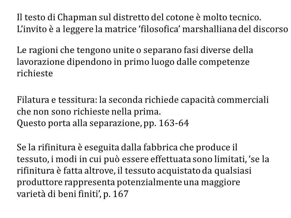 Il testo di Chapman sul distretto del cotone è molto tecnico.