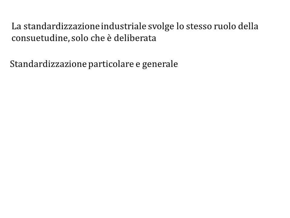 La standardizzazione industriale svolge lo stesso ruolo della consuetudine, solo che è deliberata